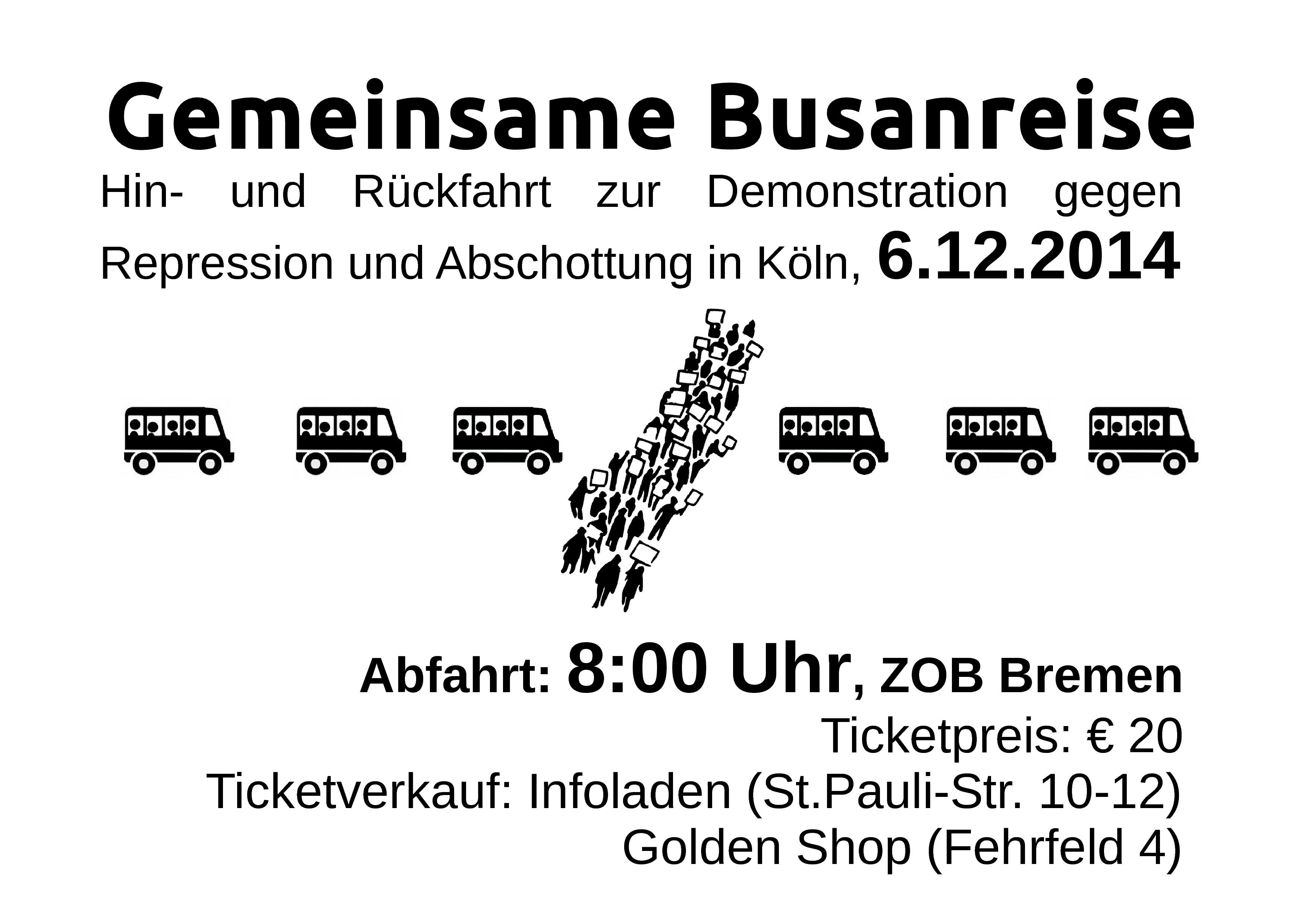 """Gemeinsame Busanreise zur Demo \""""Gegen Repression und Abschottung\"""" in Köln am 06.12.14"""